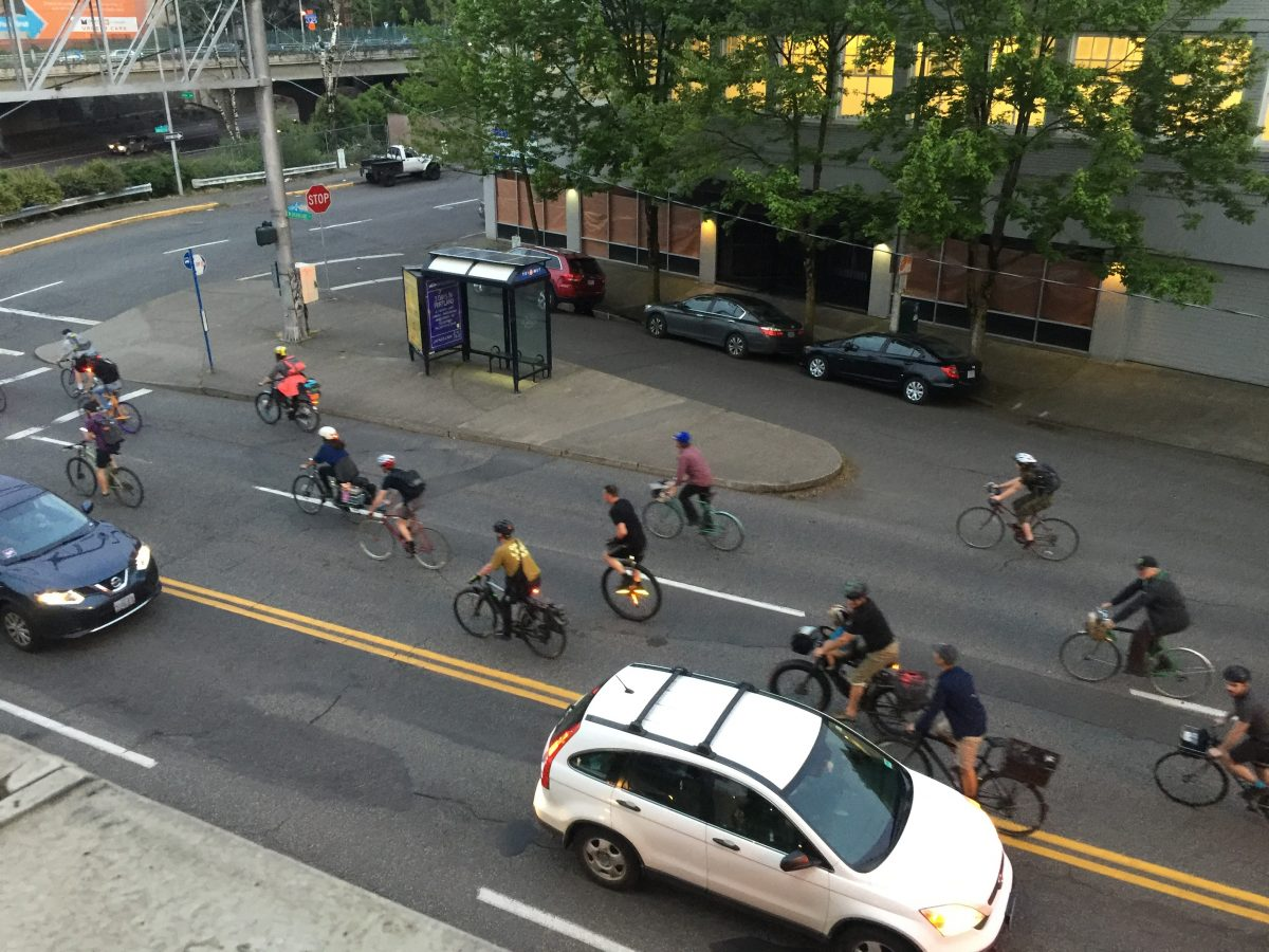 cyclists in portland through the streets