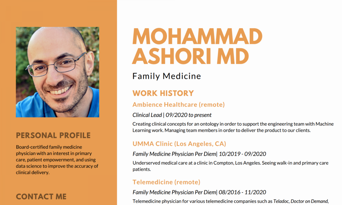 image of a well designed resume for a physician or medical doctor